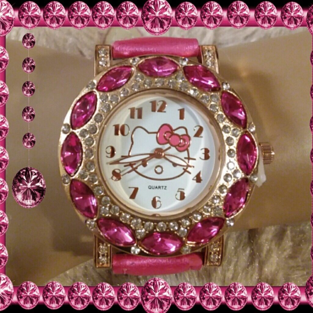 161caf181a9a30 pink rhinestone kitty watch and 50 similar items. S l1600