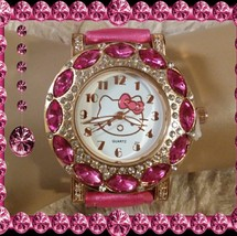 pink rhinestone kitty watch  - $19.80