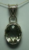925 / 800 Silver Green Amethyst Gemstone Pendant - $87.11