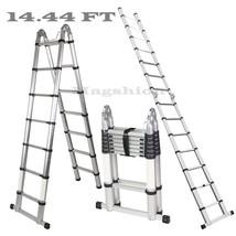 A-Frame 14.44 FT Aluminum Ladder Telescopic Extension Tall Multi Purpose... - $129.99