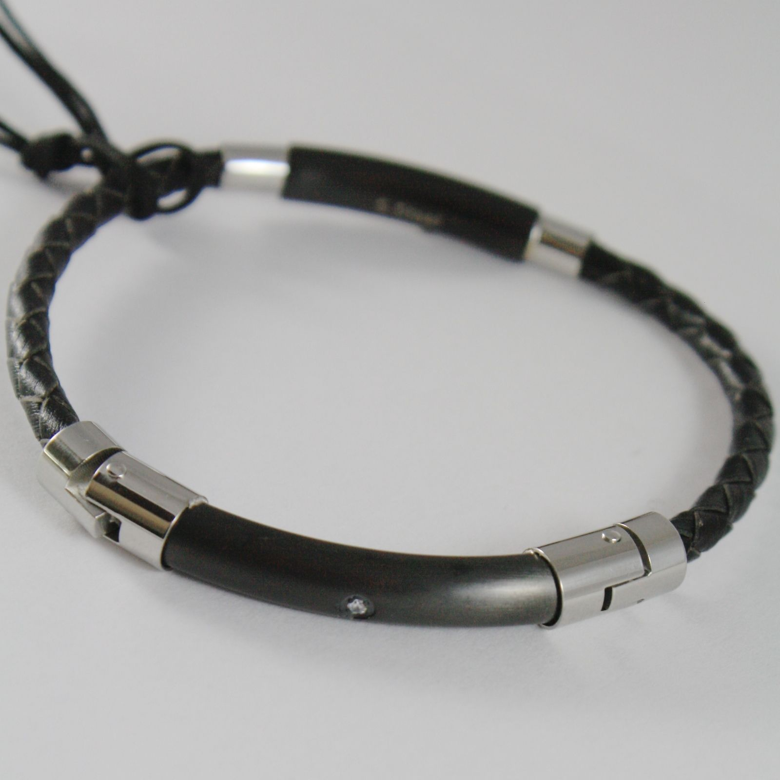 STAINLESS STEEL BLACK BRACELET TUBE PLATE & LEATHER ROPE 4US BY CESARE PACIOTTI