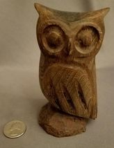 "OWL Hand Carved Hardwood 4.75"" Paperweight Collectible Figure Statue Figurine image 7"