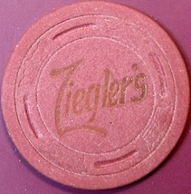 Vintage Casino Chip. Zieglers Rendezvous, Stockton, CA. 1950s. Q23. - $5.99