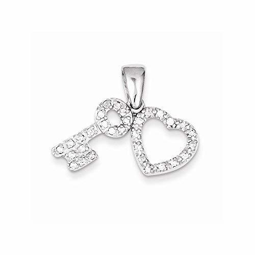 Primary image for Sterling Silver Cz Heart & Key Fancy Pendant, Best Quality Free Gift Box