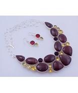 Citrine-Garnet-Jasper  Silver Overlay Handmade Jewelry Necklace F-145 - $44.55
