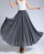 GRAY Chiffon Long Skirt Women High Waist Long Chiffon Skirt Summer Party Skirts