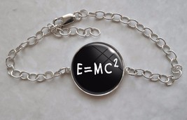 E=MC2 Mass Energy Equation Formula Math Einstein 925 Sterling Silver Bra... - $50.00