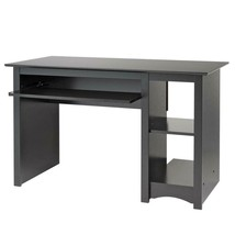Home Office Desk in Black Finish Table Modern Style with Shelf Wood Rect... - $134.99