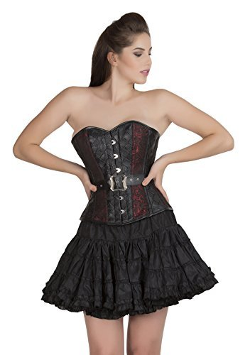 Primary image for Red Black Brocade Faux Leather Halloween Corset Costume Party Prom Overbust Top