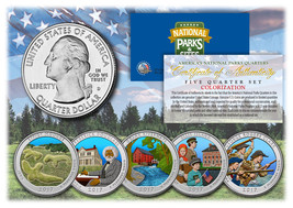 2017 America The Beautiful COLORIZED Quarters U.S. Parks 5-Coin Set w/Ca... - $12.16