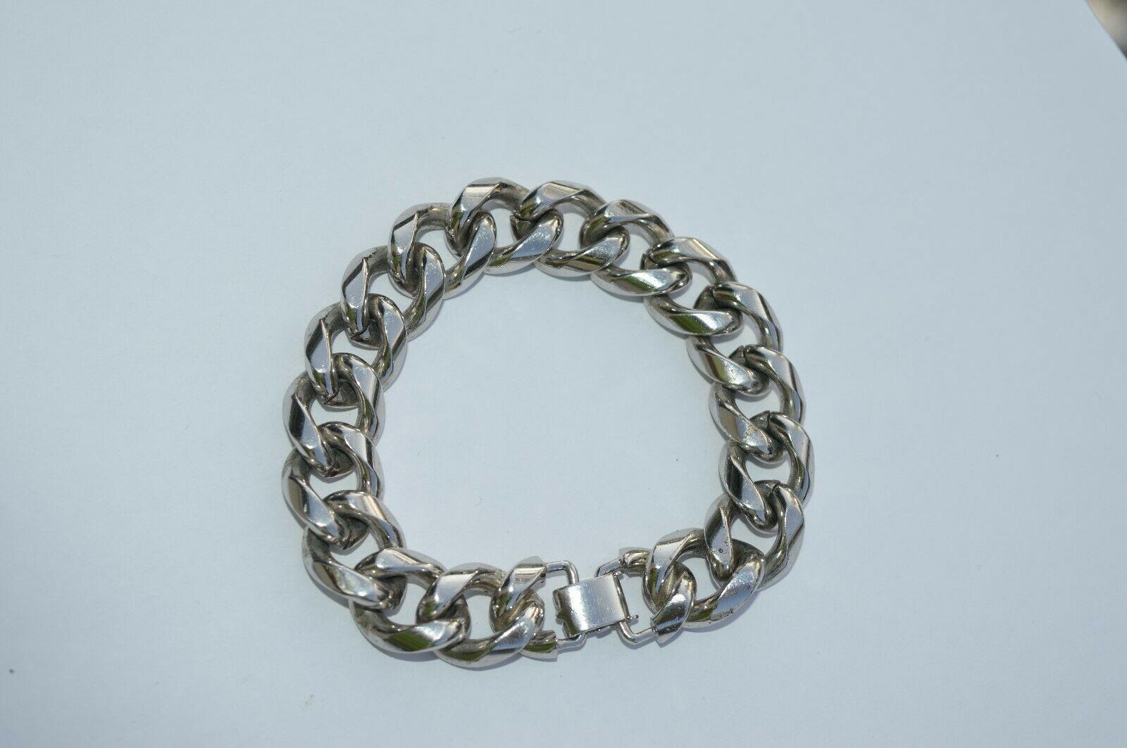 True Vtg NAPIER Heavy Link stainless steel Bracelet ''NICE''