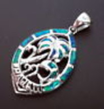 "925 Sterling Silver Blue Fire Opal Hawaii Pendant 1 1/2""(HALLMARKED In The Uk) - $67.31"