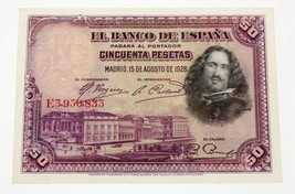 España 1928 50 Pesetas Nota 15-8-1928 Recoger #75b en que No Ha Circulad... - $39.58