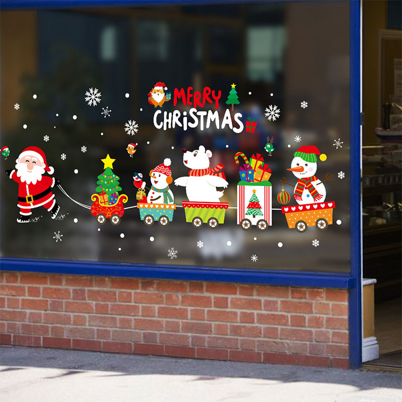 45 60cm 2019 merry christmas decorations for home santa claus pull train glass window new year 1