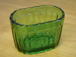 Vintage Vase-mate 7 Green Depression Glass ribbed 5 by 3 inch Oval Dress... - $9.47