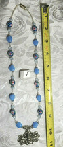 "Bee on Flower Pendant Lampwork and Milky Blue Glass Beaded Necklace 21""  (#24)"