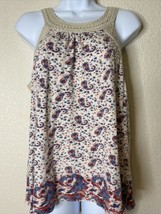 Lucky Brand Womens Size M Paisley Pattern Blouse Sleeveless Crochet Embe... - $11.88