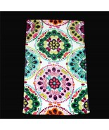 2 C HOME Bright Floral Circles Rosettes Kaleidoscope Velour Hand Towels NEW - $24.99