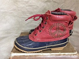 "Womens 9"" long Rubber Duck Boots Muck PEACE SIGN Ankle LUCKY BRAND Red B... - $72.39"