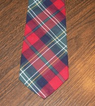 Men Men's Neck Tie Red Plaid Van Heusen Corporate Casual - $9.74