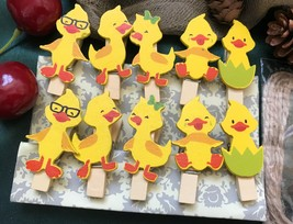 30pcs Yellow Duck Paper Wooden Clips,Pin Clothespin,children's Party Dec... - $7.20