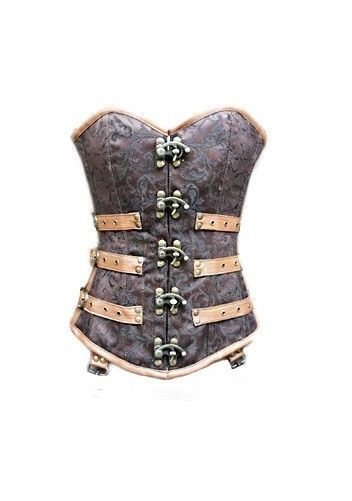 Brown Brocade Leather Gothic Steampunk Bustier PeriodCostume Overbust Corset Top