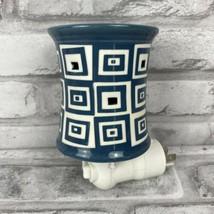 Scentsy Mini Plug In Warmer Wonky Blue & White Square Graphic  - $17.39