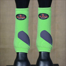 Medium Hilason Horse Front Leg Sport Boot Ultimate Protection Lime Navy U-VY-M - $49.95