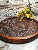 Vtg. Wood Oval Tray W/Glass Relish Dish Insert - $39.59