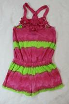 Chaps Girls Romper Size 4 Pink Green Stripe Ruffle Shortset Spring Summer - $22.76