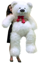 American Made 5 Foot Giant White Teddy Bear 60 Inch Soft Made in USA - $127.11