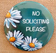 "3.5"" Door Magnet, Door Sign, No Soliciting Please, Daisies, Art, Illustr... - $9.00"