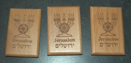 Israel Olive Wood Small Magnet Judaica Messianic Menorah Jerusalem Peace Dove image 5