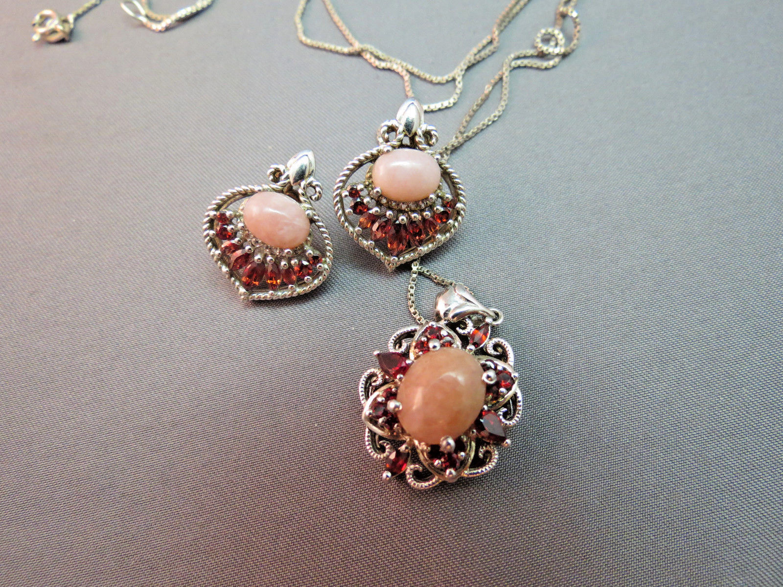 Primary image for Sterling Silver Necklace Earrings Set 10.7g Pink Art Glass Cabochon Garnet Red