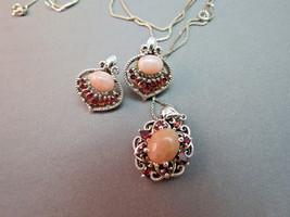 Sterling Silver Necklace Earrings Set 10.7g Pink Art Glass Cabochon Garn... - $39.59