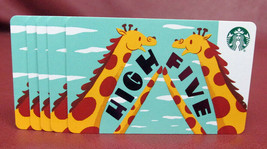 Lot of 5 Starbucks, 2018 HIGH FIVE Giraffes Recyclable Gift Cards New wi... - $8.80