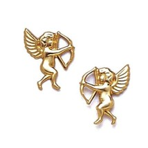 Women/Children's 14K Solid Yellow Gold 8x10MM Angel Stud Earrings PushBack - $32.31