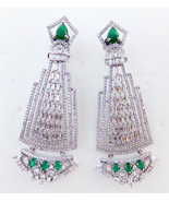 Ethnic Indian American AD Earrings Bollywood Fashion Jewelry Emerald Jhu... - $27.08