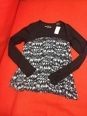 Primary image for Abercrombie Kids Girl Top Tee 16 Navy Blue Abstract Print Beaded Long Sleeve New