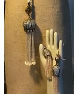 Pink Quartz & Pearl Tassel Pendant and Earring set - $85.00