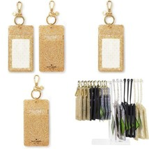 Kate Spade New York Id Badge Clip Key Chain, Gold Glitter - $42.95