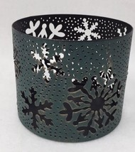 Bath & Body Works Teal Snowflakes Large 3 Wick Holiday Candle Holder Sleeve - $9.74