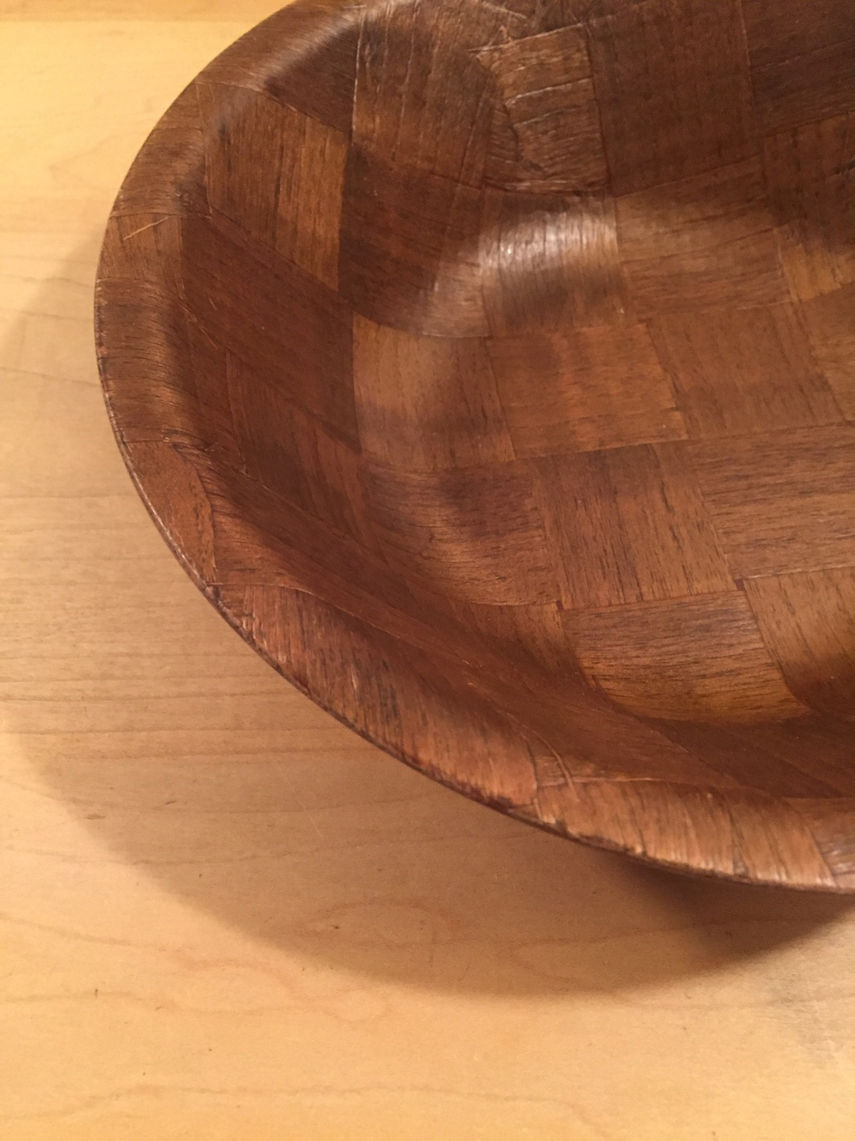 Vintage 70s Large Woven Wood Dark Wood Parquet Salad Bowl- 9""