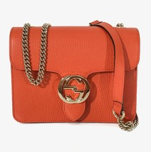 NEW/AUTHENTIC GUCCI 510304 Interlocking Leather Chain Crossbody Bag, Orange - $999.00