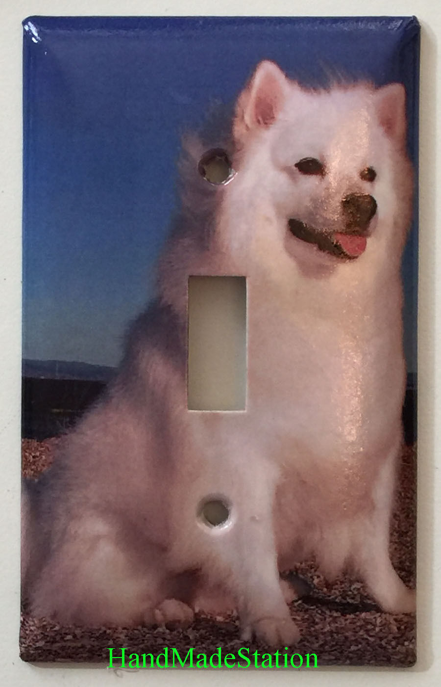American Eskimo Dog Toggle Rocker Light Switch & Power Duplex Outlet Cover Plate