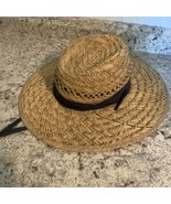 DPC DORFMAN PACIFIC CO HAT STRAW NATURAL FIBERS  Navy Blue Band Drawstrings - €26,62 EUR