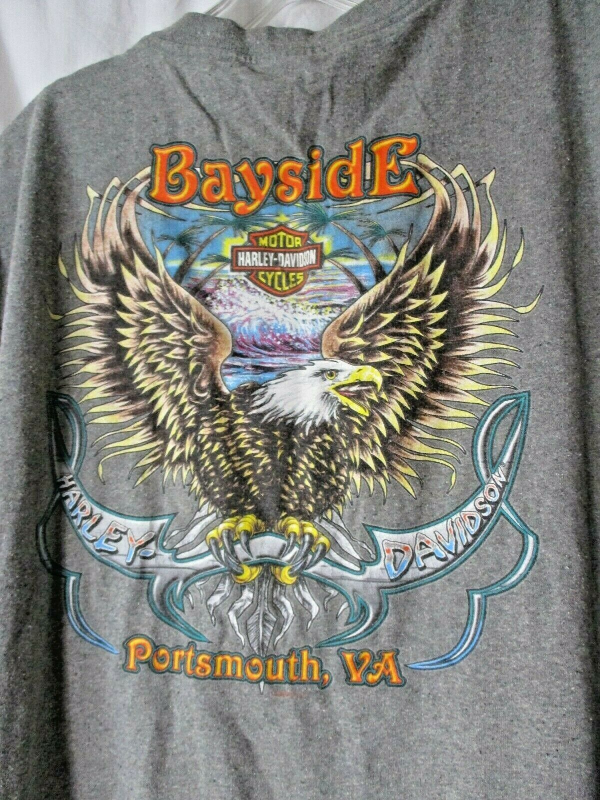 Primary image for HARLEY-DAVIDSON GRAPHIC TEE BAYSIDE H-D PORTSMOUTH, VA  Gray Sz XL Tank