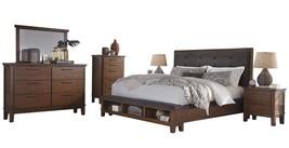Ashley Ralene 6PC Bedroom Set Queen Upholstered Storage - Brown - $3,200.19