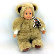 Anne Geddes Doll Plush Baby In Teddy Bear Costume Plastic Head & Hands 1... - $23.97