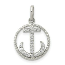 Sterling Silver Polished CZ Anchor in Rope Circle Charm in Circle Pendant - $15.85